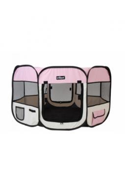 Tierlaufstall aus Polyester Pink