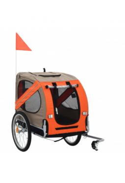Hunde-Fahrradanhänger Orange und Grau_1